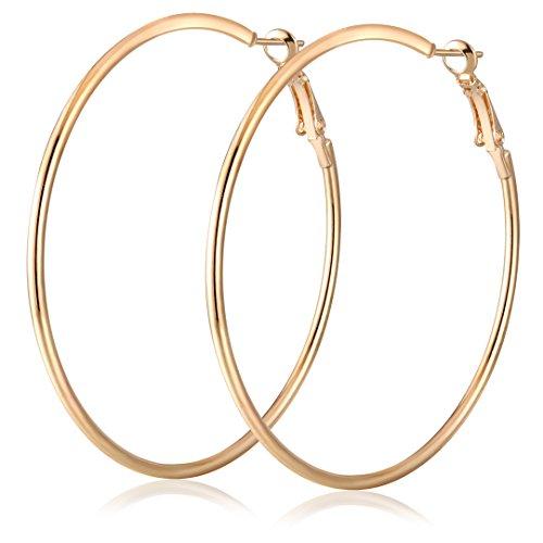 JLCHEN 2Pair Golden Silver Hoop Earrings Sterling Silver Circle Endless Big Earrings Hoops Jewelry,Fashion Gold Hoop Earring for Women Girls?Daimeter 50mm (50mm)