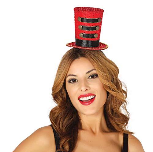 Generique - Zirkusdirektorin Miniatur-Zylinder Accessoire für Damen rot-schwarz