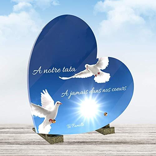 Le Coq Funéraire - Plaque Funéraire Personnalisée Forme Coeur - Thème Colombe - Plaque en Altuglass - Résistante aux Intempéries et Traitée Anti UV - Dimensions 21x21 cm…
