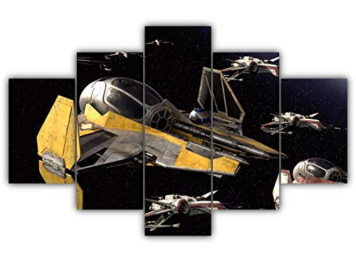 Modern 5 Panels Wall Decoration Painting Living Room Bedroom Hd Print Picture Print On Contemporary Giclee Canvas Star Wars Jedi Starfighters 200x100cm(80'W x 40'H) Framed