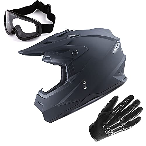 1Storm Motocross Adult Helmet BMX MX ATV Dirt Bike Helmet Matt Black + Goggles + Skeleton Black Glove Bundle
