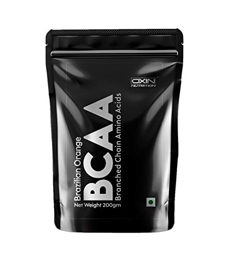 Oxin Nutrition BCAA Supplement 2:1:1 with Citrulline Malate Instantized BCAA Energy During Workout Zero Sugar BCAA 7000 Supplement Pre & Post Workout Supplement for Recovery / 200gm (Brazilian Orange)