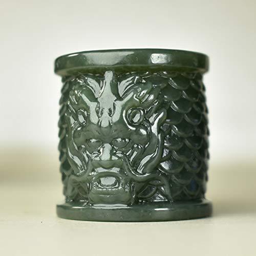 K-ONE 100% Anillo de Jade Verde Real, Anillo Hetian, Anillos para Hombre, Tallado a Mano, Exquisito Anillo de Jade de dragón, Anillo de Jade Jadite, joyería de Jade para Hombres