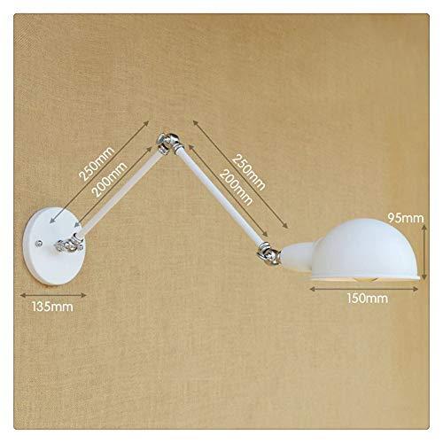 MJSM Light Wandleuchte LED Wandlampe Industriestil Langarm-Doppelteil-Retro-Essgarnitur für den Nachttisch, 20 + 20 cm, mit LED-Lampe