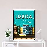 Carteles De Paisaje De Ciudades De Viaje Vintage De Lisboa, Lienzo Impreso En HD, Pintura Artística, Cuadro De Pared, Sala De Estar, Decoración del Hogar, 50X70Cm Cdl-2446