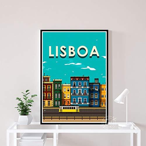 xiangpiaopiao Lisboa Vintage Viajes Ciudades Paisaje Posters Impresión En HD Lienzo Arte Pintura Cuadro De Pared Sala De Estar Dormitorio Decoración del Hogar 40X50Cm (6R-3901)