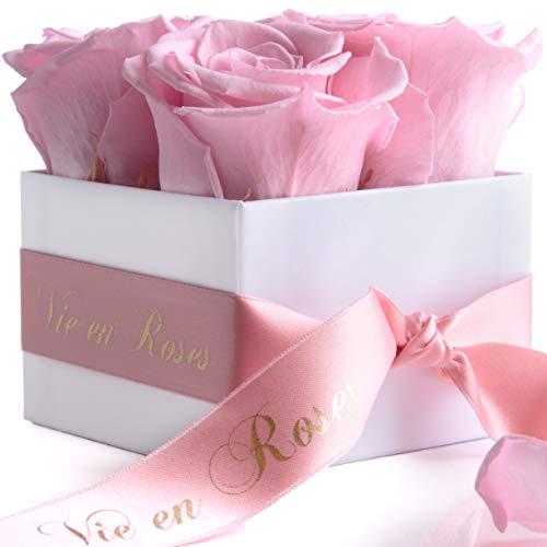 ROSEMARIE SCHULZ Heidelberg Ewige Rosen 4 Stück - Rosen haltbar 3 Jahre - Blumenbox in Weiß mit Satinband in Rosa & Goldschrift