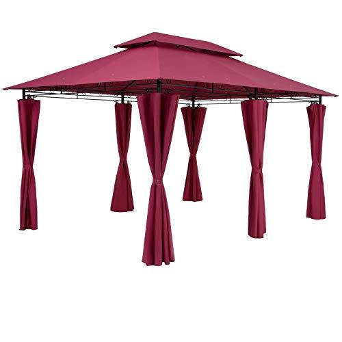 Tonnelle de Jardin Topas 3x4 m Amarante Tente de réception avec Toile Hydrofuge Pavillon pergola 2,60 m Mobilier extérieur