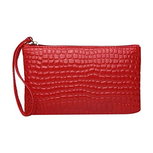 ファッションクロコダイルパターン女性財布財布カード電話ホルダー革化粧バッグ大容量クラッチハンドバッグ
