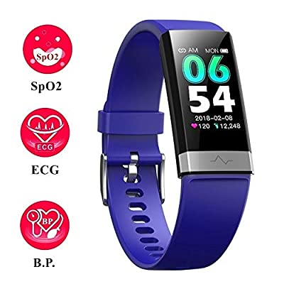 V19 E.C.G Dual-HR Health& Fitness Activity Tracker Smart Watch with Blood Oxygen SpO2 Heart Rate Blood Pressure Monitor HRV Sleep Low O2 Reminder IP68 Waterproof Smartwatch for Android iOS Men Women