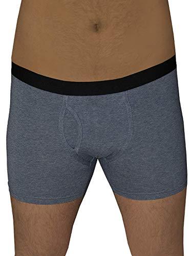 ALBERO 2 er Pack Herren Boxershorts Bio-Baumwolle Unterhose mit Eingriff (L, Navy-Melange)