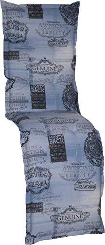 Beo zitkussen tuinstoelkussen relaxstoel Premium serie Nizza BE405 jeans blauw 170 cm x breedte 52 cm x dikte ca. 7 cm.