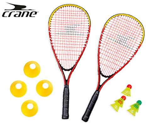 Crane Turbo Badminton Set inkl. Hütchen zur Spielfeldmarkierung und Federball