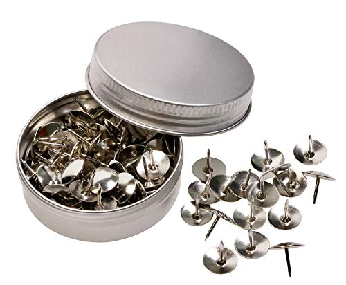 Tupalizy Small Metal Thumb Tacks Round Head Nickel Plated Map Push Pins for Cork Bulletin Board, Crafts, Home School Office Organization, 0.4inch Diameter, 100PCS