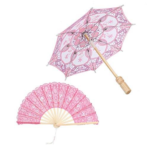 Paraguas de encaje artesanal y abanico plegable de madera, Paraguas de encaje artesanal Decoraton para bodas Escenario de baile Decoración de fotos(Rosa)