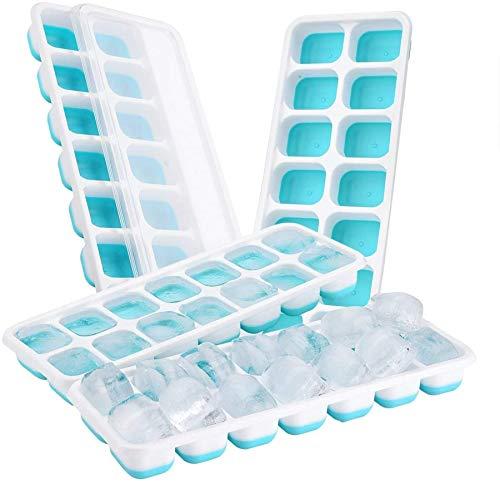 TOPELEK14-Fach Eiswürfelform 4er Pack Silikon Eiswuerfel Mit Deckel Ice Tray Ice Cube, Kühl...