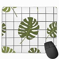 マウスパッド オフィス最適 格子 葉 熱帯 白 緑 ゲーミング 防水性 耐久性 滑り止め 多機能 標準サイズ25cm×30cm