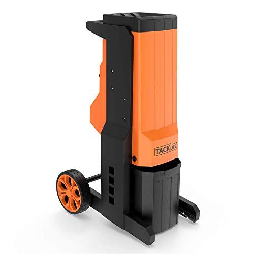 TACKLIFE Gartenhäcksler,2500W Elektrischer Gartenhäcksler, Max. 40mm Aststärke mit 20L robuste Auffangbox, auswechselbar zweischneidige Manganstahlklingen PWS02A