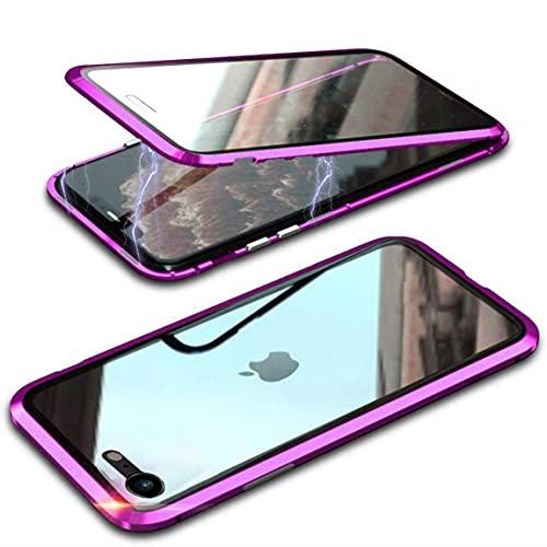 MIMGOAL Funda para iPhone SE 2020 / iPhone 8, funda magnética de 360 grados [con protector de pantalla de vidrio integrado] Marco de metal vidrio templado antigolpes transparente, color morado