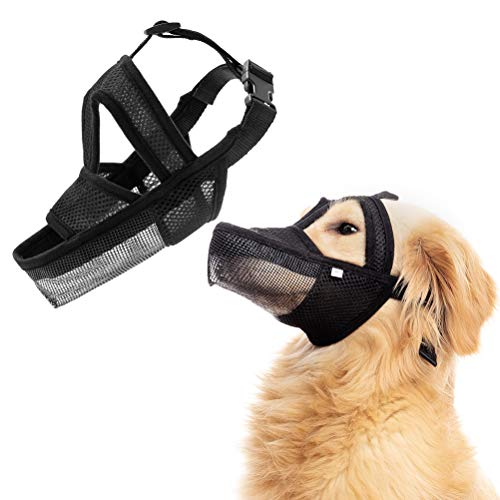 BINGPET Dog Muzzle for Medium Large Dogs - Adjustable Soft Secure Drinkable Pet Mouth Cover with Breathable Air-Mesh, Muzzle for Biting Barking...