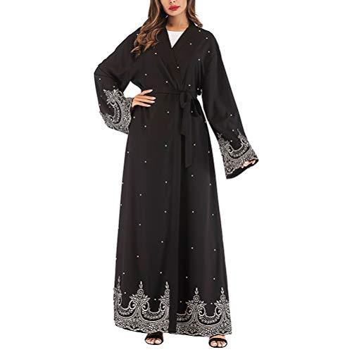 FENICAL Traje de Kimono árabe Perlas Bordado Negro Vestidos Musulmanes islámica Ropa de Mujer (Negro m)