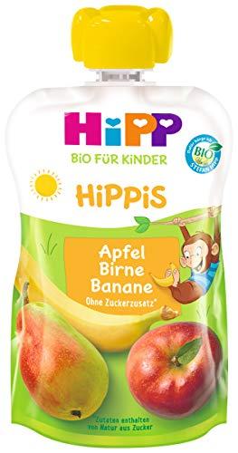 HiPP HiPPiS Quetschbeutel, Apfel-Birne-Banane, 100% Bio-Früchte ohne Zuckerzusatz, 6 x 100 g Beutel