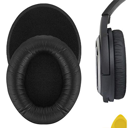 Geekria QuickFit Protein Leather Replacement Ear Pads for Sennheíser HD418, HD419, HD428, HD429, HD439, HD438, HD448, HD449 Headphones Earpads, Headset Ear Cushion Repair Parts (Black)