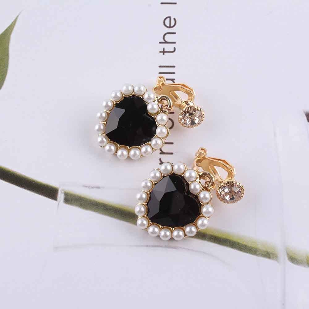 4 Color New Korean Charm Pearl Love Heart Clip on Earrings for Women Fashion Earring Luxury Jewelry