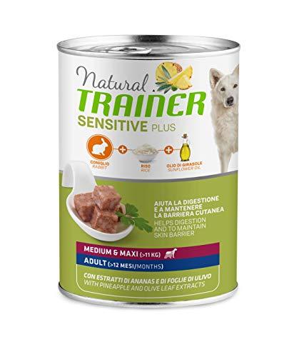 Trainer Natural Sensitive Plus - Cibo Umido per Cani Medium-Maxi Adulti con Coniglio e Riso - Pack 12 x 400gr - 3,6kg