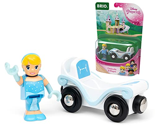 BRIO Disney Princess Cinderella & Carriage Train Set for Kids Age 3 Years Up - Compatible with all BRIO Wooden Railway Sets & Accessories