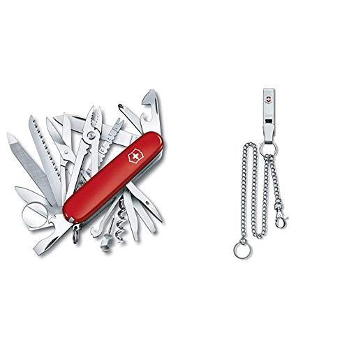 Victorinox Taschenmesser Swiss Champ (33 Funktionen, Kombizange, Stecknadel, Zange, Schere) rot & Gürtelanhänger Multiclip für Taschenmesser (1 Karabinerhaken, 1 Ring, 2 Ketten Lang/Kurz) silber