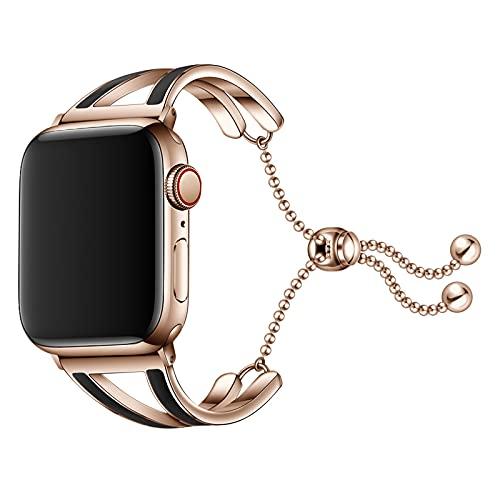 Correa Compatible para Apple Watch 40/38mm 44/42mm, Pulsera de Repuesto Inoxidable Correa para iWatch Serie se/6/5/4/3/2/1 Correa de Repuesto, para Mujer,Black,38/40mm