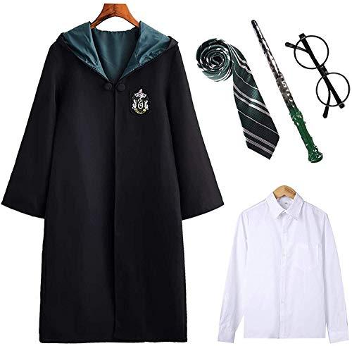 Kinder Erwachsene Harry Potter Kostüm Umhang Gryffindor Hufflepuff Ravenclaw Slytherin Fanartikel Unisex Outfit Set Halloween Fasching Cosplay,Männlich-grün,M