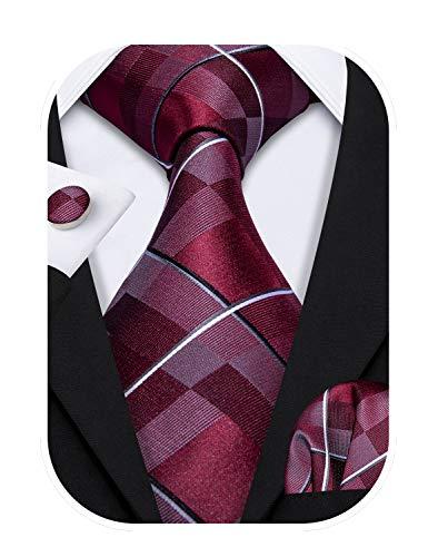 Barry.Wang Herren Paisley Krawatten Mit passendem Einstecktuch und Manschettenknopf im Set