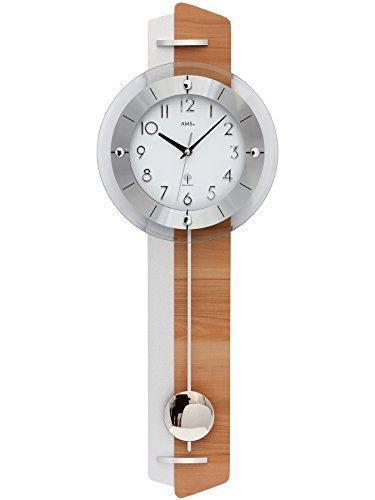 Pendeluhr AMS 5271 Wanduhr mit Pendel Funk , Kernbuche / Aluminium - Applikation Holzrückwand