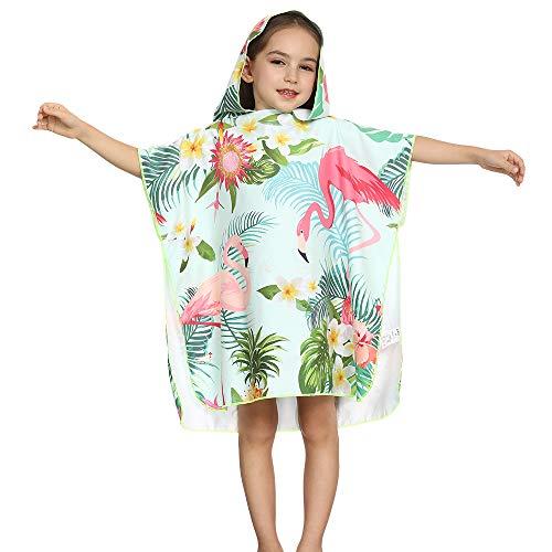 Bademantel für Jungen und Mädchen, mit Kapuze, superweich, für Kinder, rosa