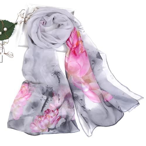 JIEZI Bufanda de seda con protección solar de loto de verano, toalla de playa junto al mar, bufanda de seda larga para mujer, bufanda de seda fina con luz de luna y estanque de loto.