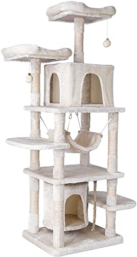 Kratzbaum 170cm Katzenkratzbaum groß Stabiler Kletterbaum Spielhaus Hängematte Höhle Ball für Katzen (Beige)