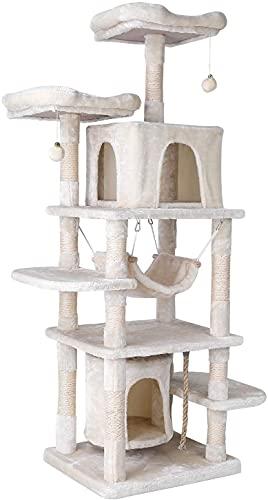 170 cm Albero Tiragraffi per Gatti, con Stabile Albero da Arrampicata, Casetta da Gioco, Amaca, Grotta e Palla, Design Anti-Caduta per Gatti, Animali Domestici
