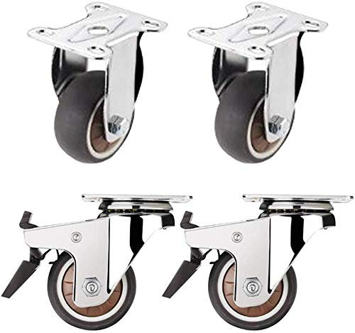 Möbelrollen Räder, Gummirollen, Bock- / Dreh- / Bremsrollen mit oberer Platte, 4 Stück, Gesamttragfähigkeit 150...