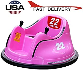 ?US Stock? Electric Ride On Bumper Car for Toddlers,Alonea DIY Race 6V Kids Baby Bumper Toy with Light, Vehicle Remote Control 360 Spin, No Assembly, for Boys Girls (1.5-7 Years Old) (Pink)