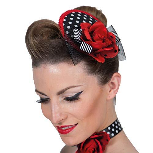 NET TOYS Bezaubernde Rockabilly Haarspange mit Minihut - Originelles Damen-Kostüm-Zubehör Rock n Roll Haarschmuck 50er Jahre - Perfekt geeignet für Karneval & Mottoparty
