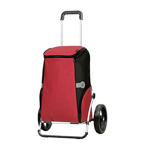 Sondermodell Andersen Einkaufstrolley Royal XXL klappbar mit 3-Speichenrad 25 cm und 60 Liter Einkaufstasche Rune rot mit Kühlfach