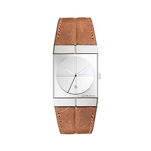Jacob Jensen Herren Analog Quarz Uhr mit Leder Armband 233