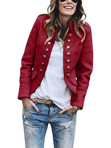Onsoyours Blazer Elegante Giacca da Donna con Bottoni, Stile Militare, per Il Tempo Libero, per Il Lavoro, L'Ufficio Vino Rosso 50