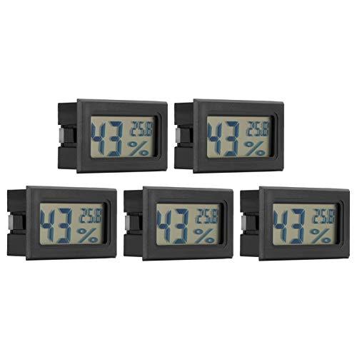 KUIDAMOS Medidor de Humedad y Temperatura, termómetro LCD de 5% RH, Funcionamiento Estable de 5 Piezas para el hogar, Sala de Estar, Dormitorio, Oficina
