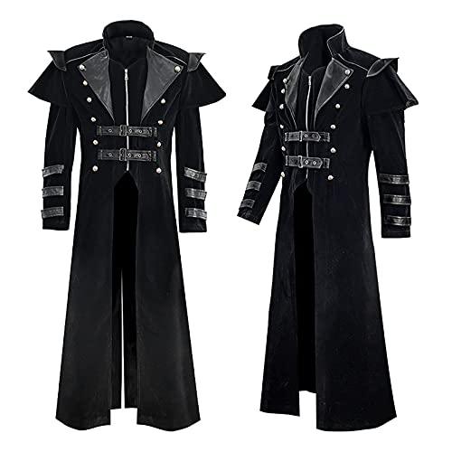 BGUK Abrigo de hombre Medieval Palace Vintage largo de piel sinttica de ante negro con monedero de piel de vacuno estilo medieval, Negro , XL