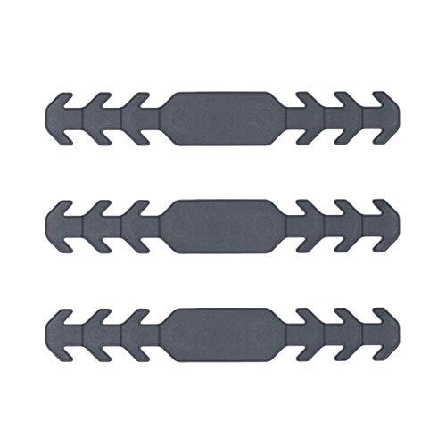 Sossai Flexibler Masken Halter | EMH | 3 Stück | Farbe: Grau | Verstellbar in 3 Stufen | Verlängerung für Sanitärmaskenbänder | Ohrenschoner | Länge: 165mm | hochwertiger Kunststoff