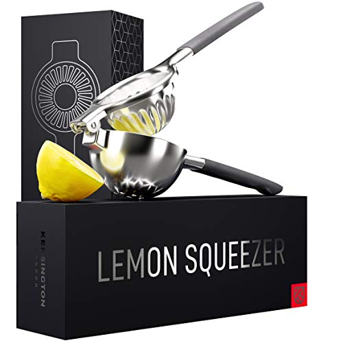Ultimate Manual Lemon Squeezer - Pro-Grade, Stainless Steel Ergonomic Design, Non-Slip Grips - Effortless Lemon, Lime, Orange, Citrus Fruit Juicer - Less Seeds, More Juice