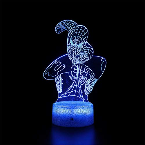 Sleeplite - Luz nocturna para niños, diseño de Spiderman A 16 colores cambiantes USB LED lámpara de mesa de escritorio con control remoto para niños, Navidad, Halloween, cumpleaños
